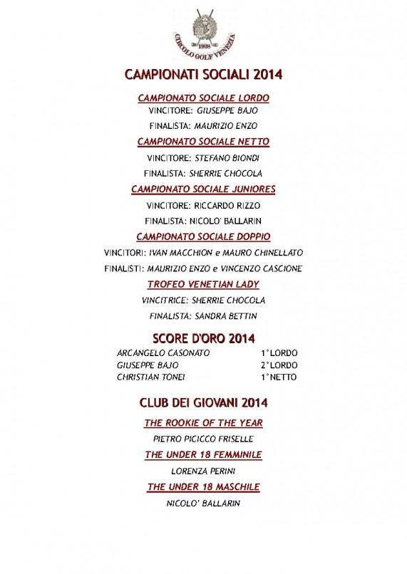 vincitori camp soc 2014
